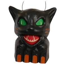 "Snarling Black Cat on a Fence Jack 'O Lantern ""SEASONS GONE BY"" Designer Christoper James - Halloween decoration"