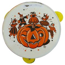 Halloween decoration – US Metal Toy VINTAGE HALLOWEEN Tin Tambourine noisemaker 1950's
