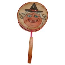 Scary Witch Face Halloween Horn Drum Shaker Noisemaker – Germany 1930s