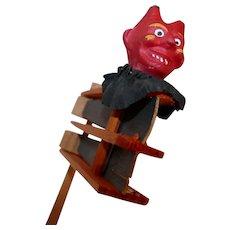"Vintage Halloween wooden spinner ratchet ""The Devil"" Noisemaker - Germany 1920's"