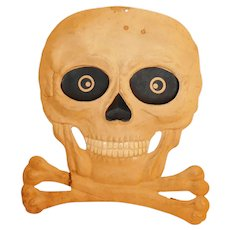 Scary Skull and Crossbones heavily embossed cardboard cut out Germany 1940's