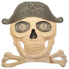 Early German embossed Halloween cardboard die-cut skull & crossbones decoration 1935