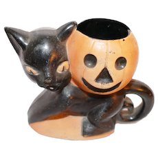 Rosbro Plastic Black Cat and Jack O Lantern Pumpkin Vintage Halloween Candy Holder, Providence, Rhode Island, 1950's Vintage Halloween Decoration