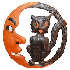 Scary Black Cat sitting with a crescent Man in the Moon heavily embossed cardboard cut-out Germany 1920's