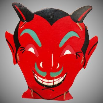 Halloween decoration - Dual sided Devil Face slot and tab lantern USA Fibro Toy by Dolly Toy Company 1935 – 1950