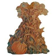 Vintage autumn Fall season & Halloween die cut Pumpkin & corn shock ~ Dennison Company