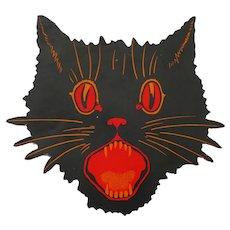 Scary Cat face cardboard cutout Halloween decoration Dennison Co 1924