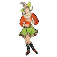"""Articulated Jointed Dancing Witch having """"Swinging Watusi Action."""" USA Beistle Company 1960's"""