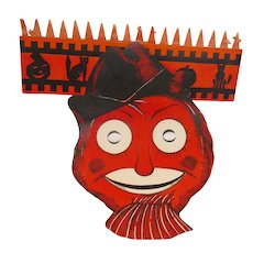 Whimsical Scarecrow mask hat Beistle Company (no mark) USA  1938 - 1954