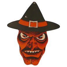 Vintage Die cut Scary Witch face Creepy Alice - Large size for Halloween, Beistle Company 1940s - 1960s