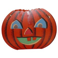 Halloween decoration - Dual sided Happy & Mad face Jack O Lantern Pumpkin Face slot and tab lantern USA Fibro Toy by Dolly Toy Company 1950s