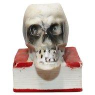 Vintage Halloween decoration - Porcelain/Bisque Skull on book Match Safe Holder – Japan 1950s