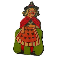 Rare two-sided heavy cardboard squeaker noisemaker Witch German 1920s