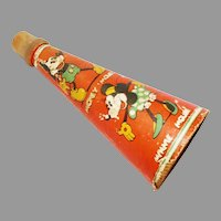 Halloween decoration – Lithographed paper cardboard wood tip horn depicting Micky & Minnie Mouse – Walt E. Disney - Marks Brothers Co 1930s
