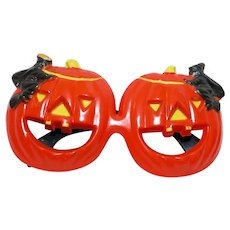 Scary Black Witch flying over Jack O Lantern Fosta Funglasses - Halloween glasses - Foster Grant Company 1950s