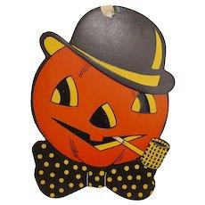 Halloween cardboard decoration Jack O Lantern Man with Corn Cob pipe - H.E. Luhrs/Beistle Company USA 1940s