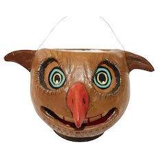 Spooky medium size Hoot Owl Head Lantern/Bucket  Halloween decoration - Poliwoggs