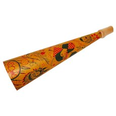 Halloween decoration – Lithographed cardboard wood tip horn – Indian Chief, Creepy & Stylish Clowns, Pirate, & Gypsy 1930s