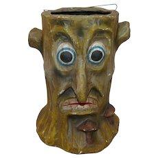 Paper Mache Stumpy Haunted Woods Tree Bucket/Candy Container Halloween decoration