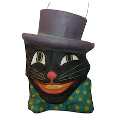 Paper Mache One Cool Cat Bucket/Candy Container Halloween decoration