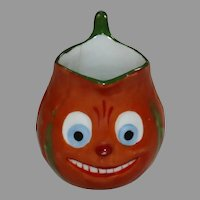 Pumpkin face porcelain child size Creamer from pumpkin face tea set Halloween decoration 1914-30's