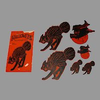 Set of Assorted Cat and Witch Halloween Silhouettes USA Beistle Company 1920s Rare