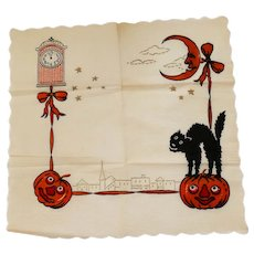 Vintage crepe paper table placemat depicting scary black cats & Jack O Lantern pumpkins Halloween decoration 1920s