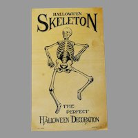 Halloween Skeleton and advertising card Beistle Company 1940s