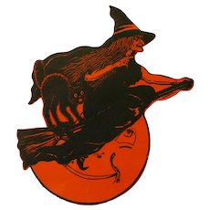 Halloween Silhouettes Large Witch USA Beistle Company 1920s Rare