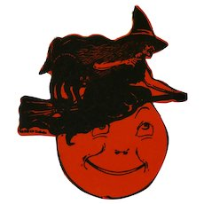 Halloween Silhouettes small Witch USA Beistle Company 1920s Rare