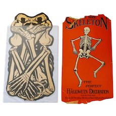 """Full size Skeleton """"The Perfect Halloween Decoration"""" envelope with contents. USA Beistle early 1930s"""