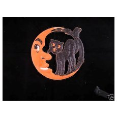 Small size Scary Crescent Moon with Black Cat German cardboard die cut Halloween decoration 1920's
