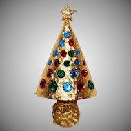 Press 'n Glow Christmas tree brooch Hattie Carnegie Company 1964