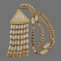 Hattie Carnegie Egyptian Revival Lotus flower Pendant necklace – 1960's