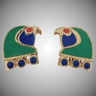 Hattie Carnegie Egyptian Revival Enameled Horus-Falcon Head Clip style earrings