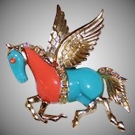 "Vintage Faux Turquoise & Coral ""Pegasus"" Horse Pin Brooch 1970's"