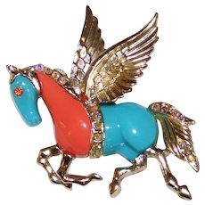 """Vintage Faux Turquoise & Coral """"Pegasus"""" Horse Pin Brooch 1970's"""