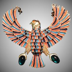 Large vintage enameled Egyptian Revival Necklace - Egyptian Falcon God of the Sky Horus