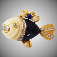 "Cream & Blue Piranha Ferocious Fish brooch Kenneth J Lane designer  ""Primitives on Parade"" Collection Hattie Carnegie Company 1960's"