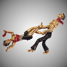 Whimsical Parisian Apache Dancers Figural Brooch Hattie Carnegie Company 1940's