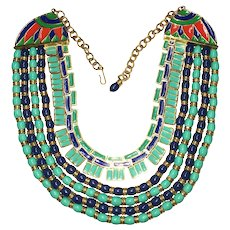 Egyptian Revival Turquoise Lapis and Enamel Choker Necklace - Hattie Carnegie Company 1960's