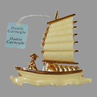 Oriental junk/boat Brooch with original tags – Hattie Carnegie Company 1960s Excellent