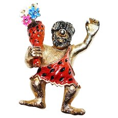 Hard to Find – Waving Happy Caveman - trembler brooch - with colorful flowers - Mid-Century Hattie Carnegie