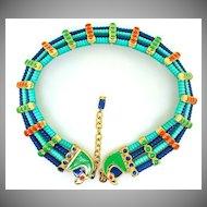 HATTIE CARNEGIE Falcon head Egyptian revival glass bead enamel choker necklace Mint!