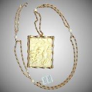 Hattie Carnegie - Asian Garden - Ivory white colored resin Brooch/Pendant necklace Near Mint - very nice!