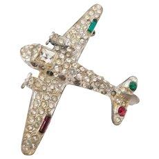 Patriotic World War 2 Airplane Sweetheart brooch sparkly rhinestones - 1940's