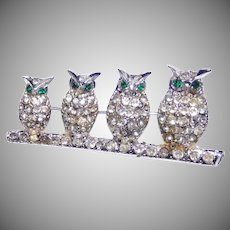 Adorable Family of Owls on a branch, brooch sparkly rhinestones – 1930's