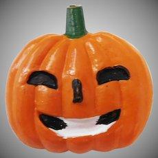 Vintage Plastic Jack O Lantern Pumpkin pin for Halloween Made in Japan Mid Century