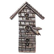 Vintage Pewter Birdhouse Pin Barker Hallmark 1996