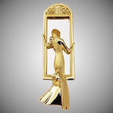 Vintage American Jewelry Mirror with elegant lady in formal gown Hallmarked AJC